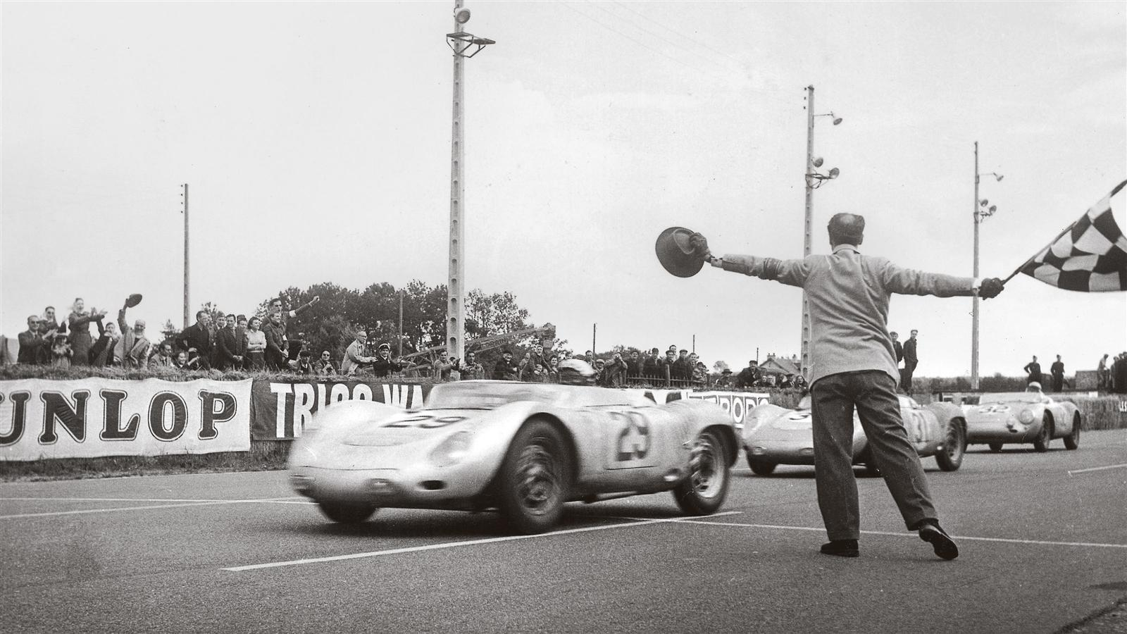 Jean Behra driving a 718 RSK Spyder during the 24 Hours of Le Mans in 1958