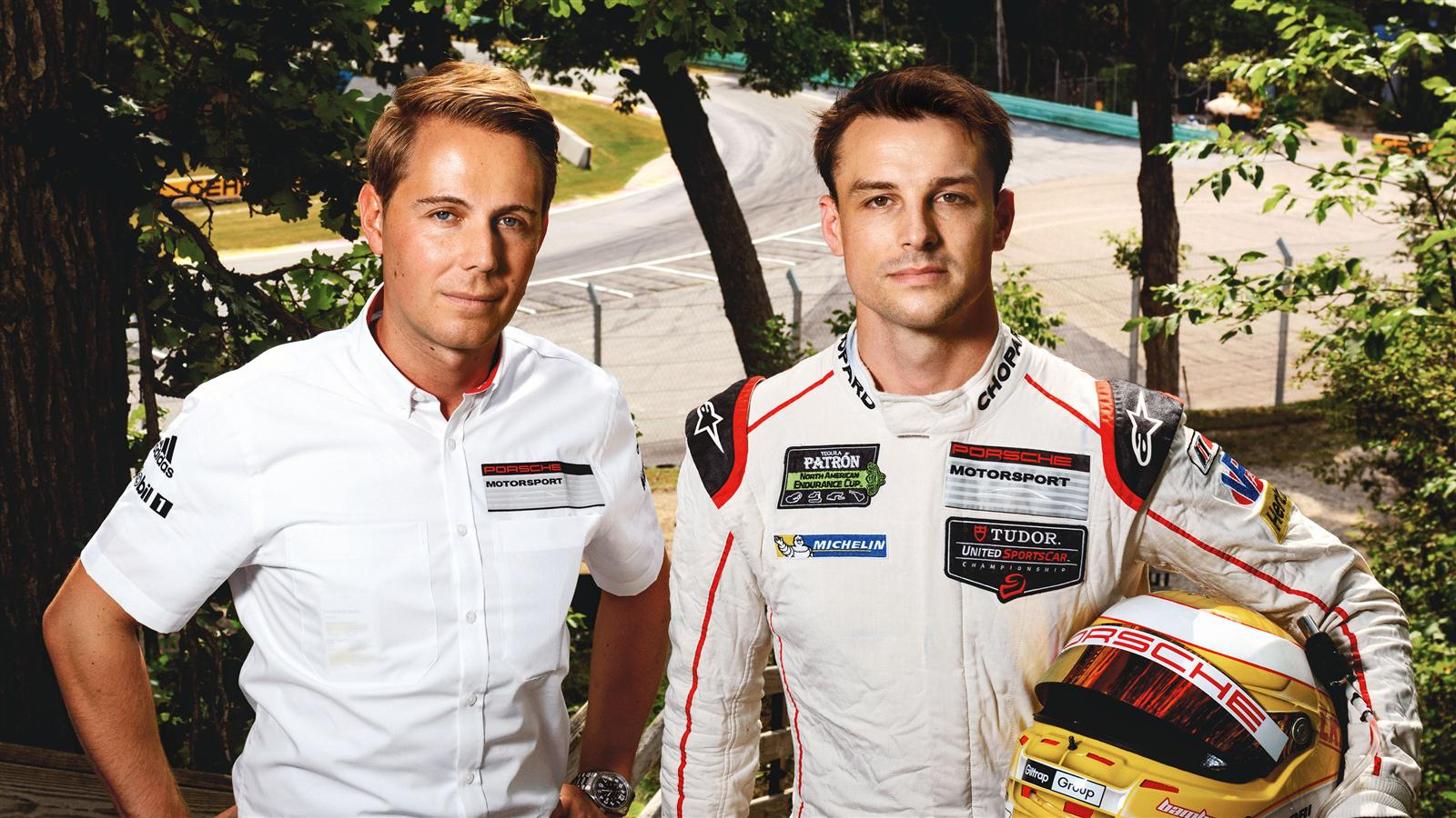 (l-r): Steffen H?llwarth and Earl Bamber, Porsche factory drivers