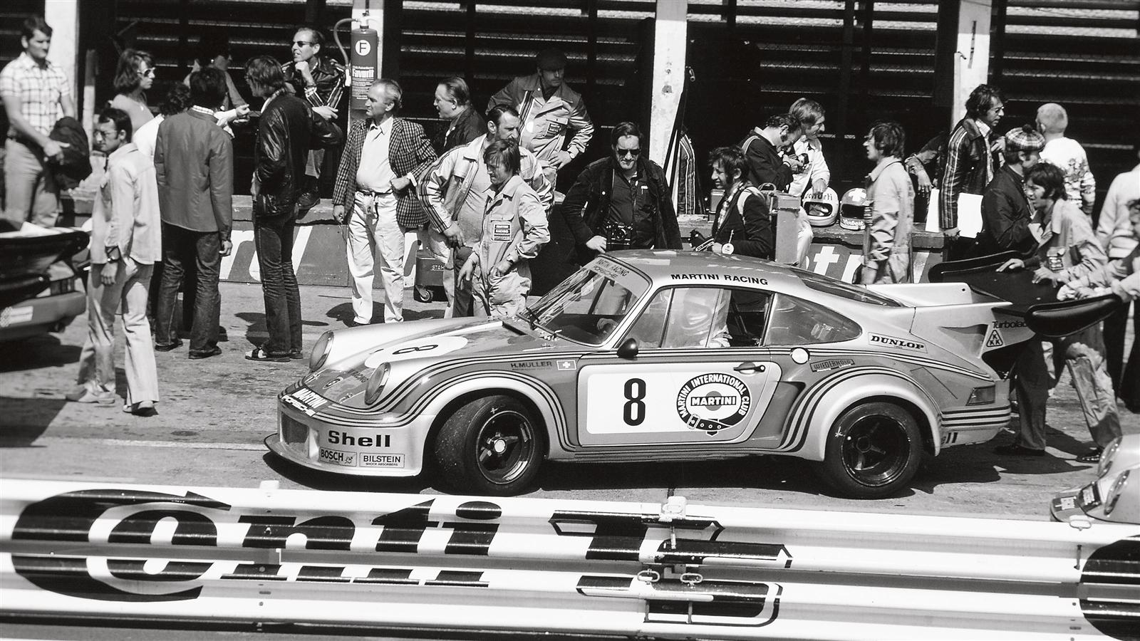 Porsche 911 Carrera RSR Turbo in the pit lane of the Nurburgring in 1974